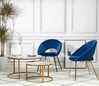 Set of 2 ROME Oval Velvet Dining Chairs - Royal Blue and Black